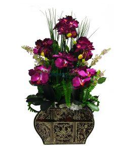 Yapay Fuşya renkli Orkideli Aranjman