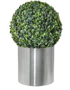 metal saksılı içi dolgulu yapay top şimşir